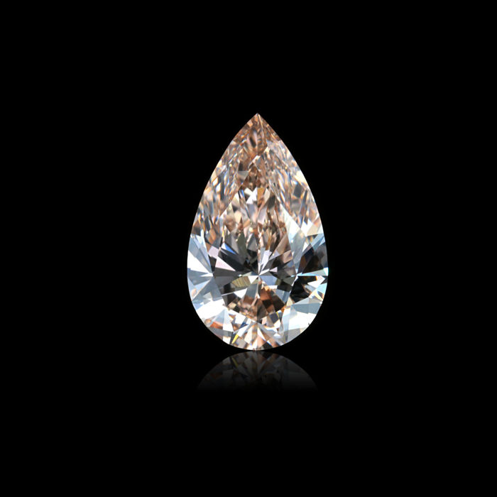 1 pcs Diamant - 2.01 ct - Peer - O-P - very light brownish pink - VVS1