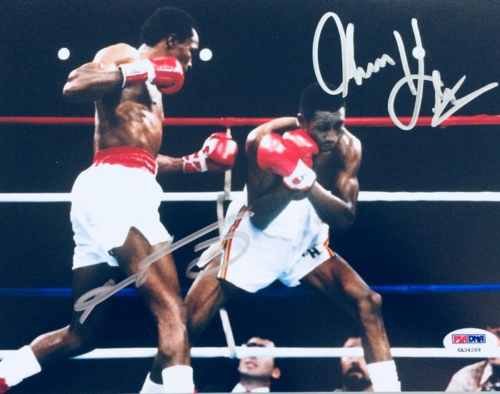Sugar Ray / Thomas Hearns - Authentic Signed Autograph in Amazing Poster ( 20x25 cm ) - with Certificate of Authenticity PSA/DNA