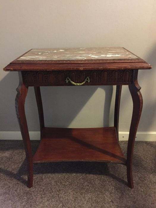 A Marble Top   Inlaid Wooden Table   Ca.1930