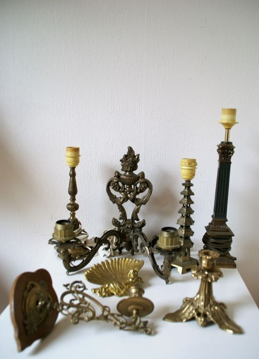 Nice Lot Of 7 Old Bronze And Copper Home Decor Objects