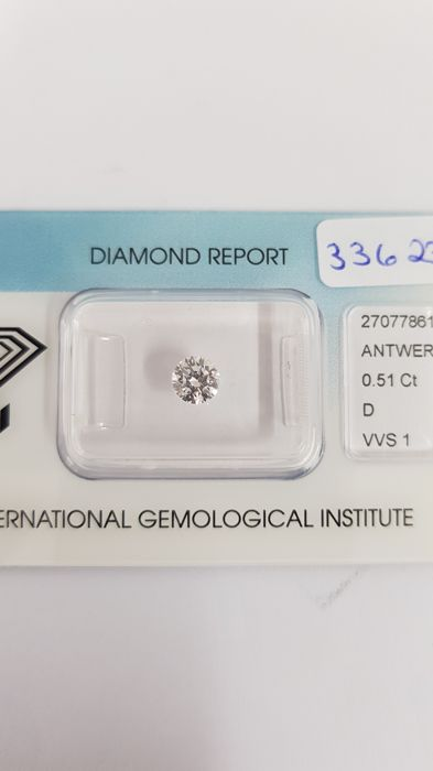 1 Diamond - 0.51 ct - Brilliant - D (colourless) - VVS1