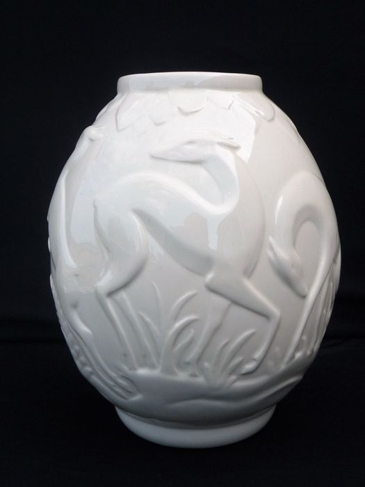 """Charles Catteau for Boch Frères - Art Deco vase hind """"biche"""" in relief decoration F1221"""