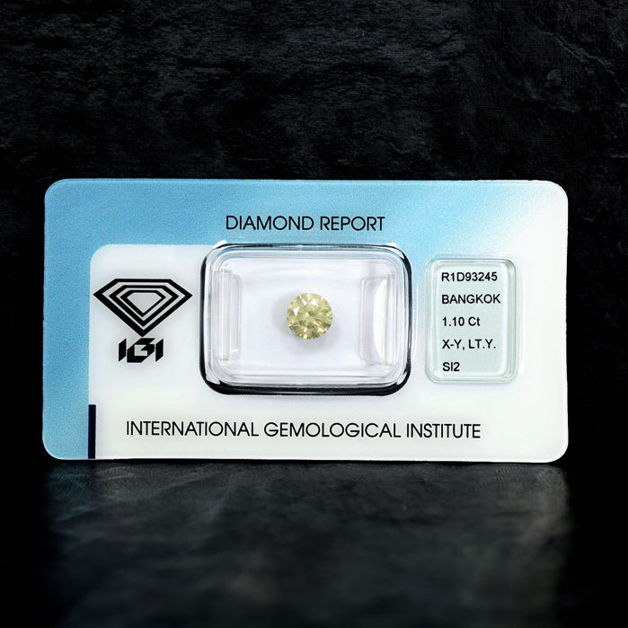 Natural Diamond - 1.10 ct, X-Y Light Yellow