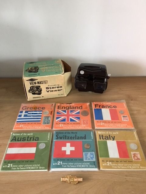 Sawyer's View-Master Stereo Viewer Model D, No. 2011 + 6 x Nations Of The World - 1950s