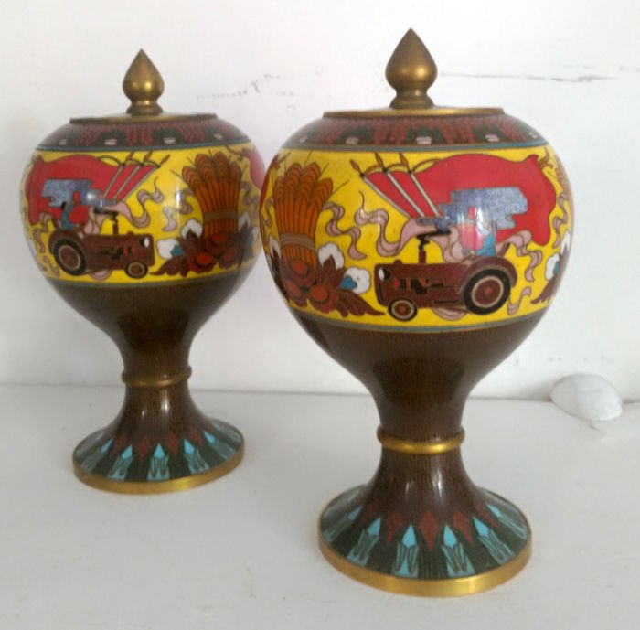 A pair of potiche vases of brass and enamel - depicting a tractor as symbol of agriculture - China - 20th century