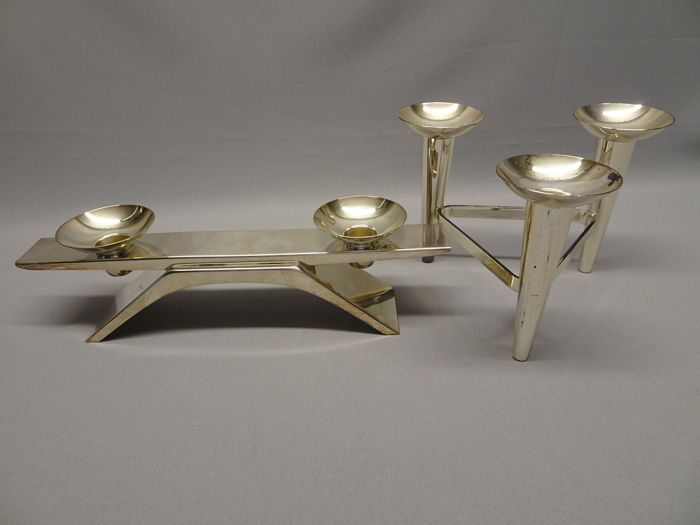 Attributed to Kurt Radtke for WMF - two silver-plated candelabras