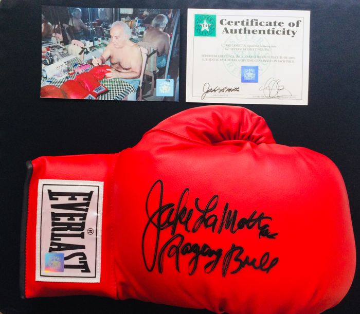 Jake LaMotta - Authentic & Original Signed Autograph in a Everlast Red Boxing Glove - with Certificate of Authenticity + Photo Proof