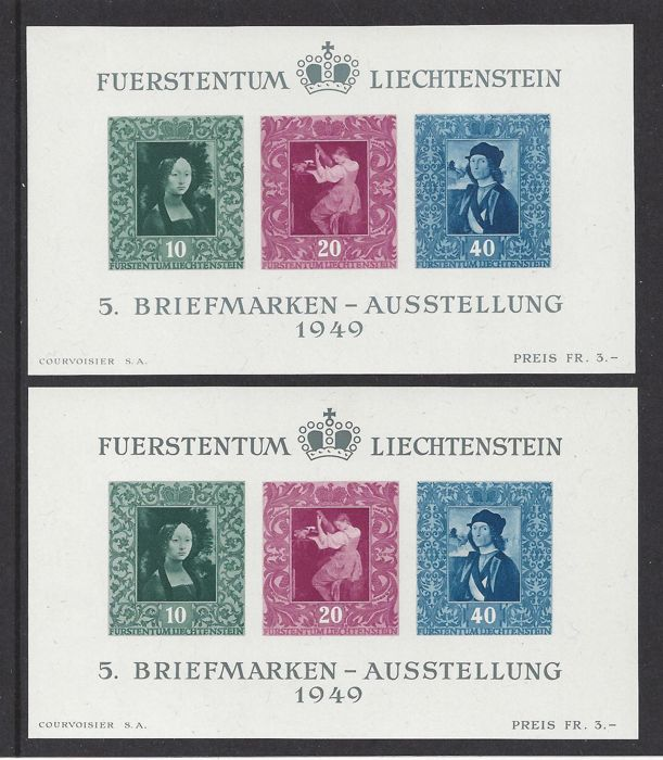 Liechtenstein 1949 - paintings - Michel Blok 5, 2x