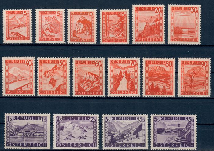 Austria 1947/1952 - collection on cards