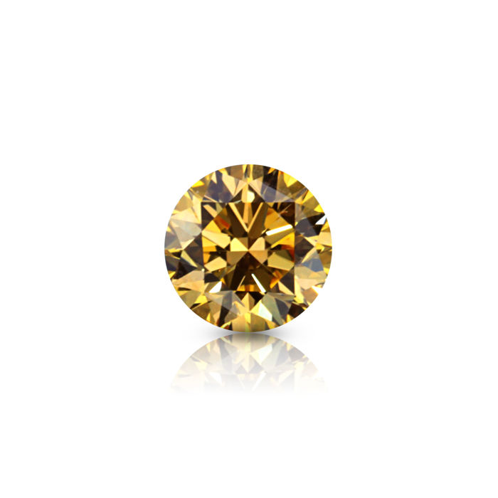 1 pcs Diamant - 0.25 ct - Rond - fancy orange yellow - VS2