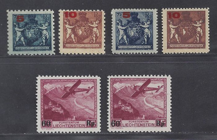 Liechtenstein 1924/1935 - Overpressure and Airmail - Michel 122/124 en 148 2x