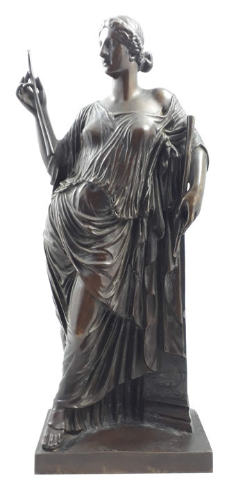 Patinated bronze sculpture of the Greek Muse Euterpe - Barbedienne Foundry - France - 2nd half of 19th century