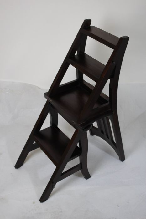 Wooden Library Chair/ladder, Second Half Of The 20th Century
