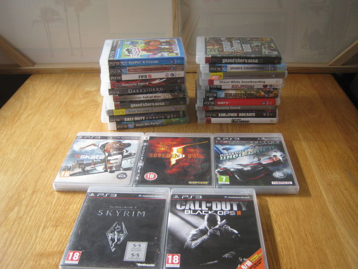 25 Sony PS3 games some are rare: Black ops 2 + Skyrim + Resident evil 5 +  Skate 3 + Ridge racer special edit  + GTA 4 and more - Catawiki