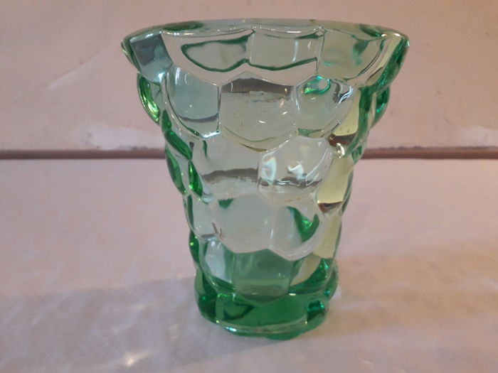 Vase made of pressed glass with scales by Pierre D Avesn France 1940