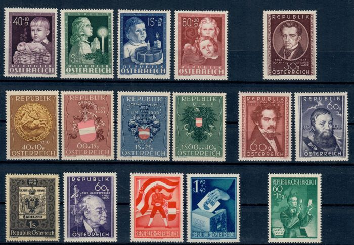 Austria 1949/1955 - collection on cards