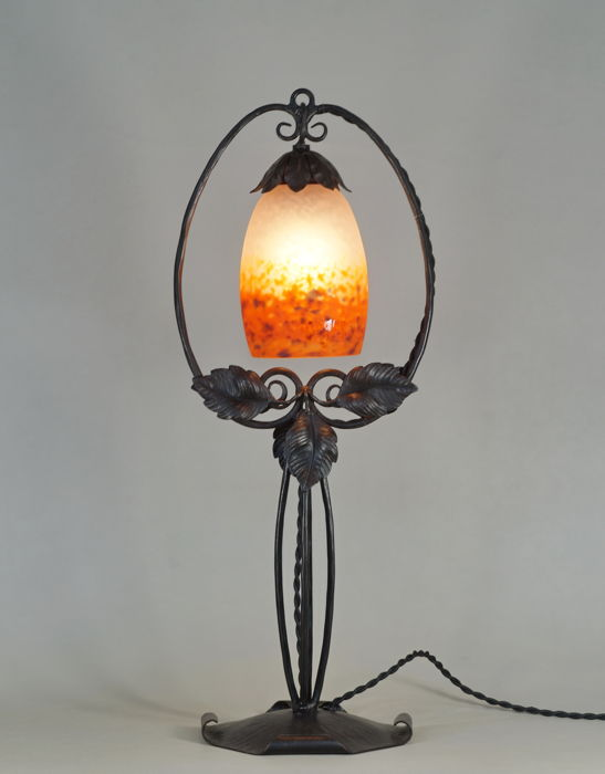 Schneider & Piguet - Art Deco lamp - wrought iron and coloured glass