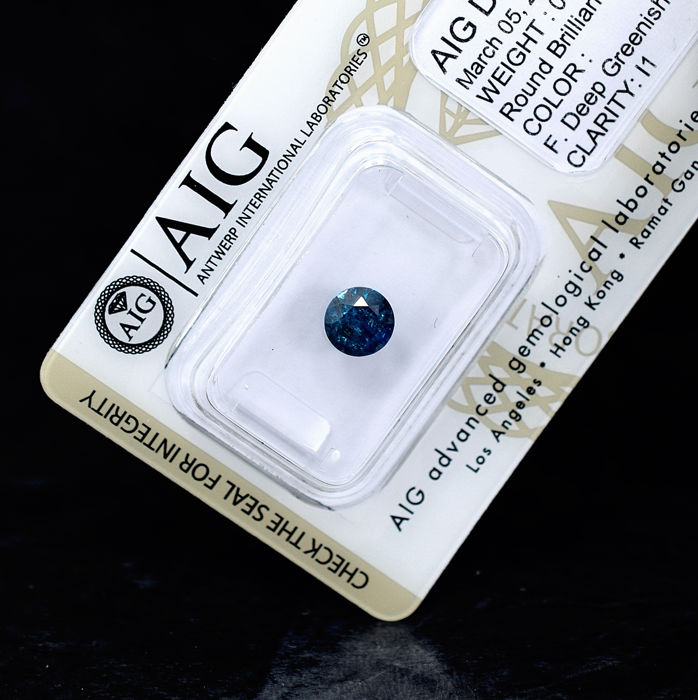 Fancy Deep Greenish Blue (treated) Diamond - 0.96 ct