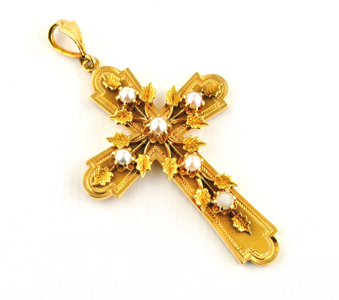 Authentic 19th Century French Antique 18k Gold & Pearl Cross Pendant