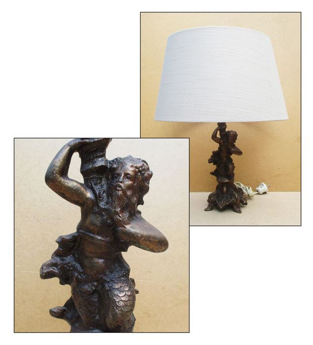 Table Lamp On A Heavy Metal Base In The Shape Of Poseidon Catawiki