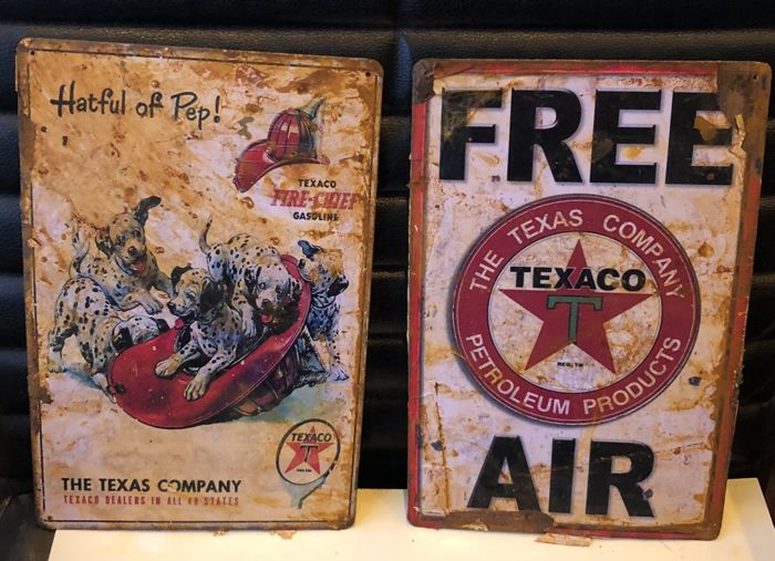 Very Curious advertisings TEXACO lot: Petroleum Products and Texaco  Gasoline - Hatful of Pep and Free Air - 21th century - Catawiki