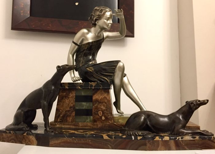 "Uriano - ""Waiting"" - Art Deco Sculpture - A young girl with Dogs"