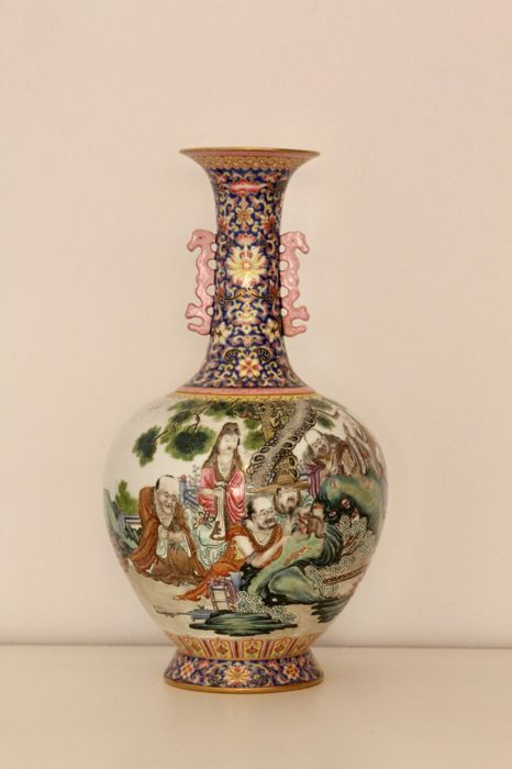 Eighteen Arhats Hand Painted Porcelain Vase- China - second half 20th Century