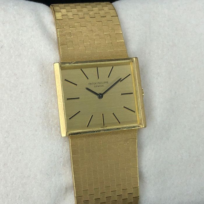 Patek Philippe - Geneve Square 18k Yellow Gold With Solid Bracelet - 3549/1 - Men - 1970-1979