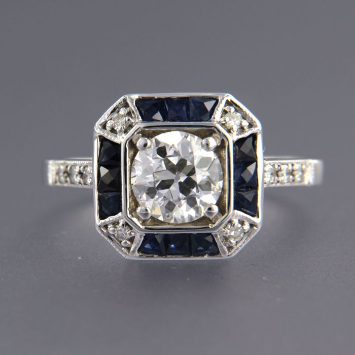14 kt white gold ring in Art Deco style set with sapphire and diamond, approx. 1.80 carat in total, ring size 17.25 (54)