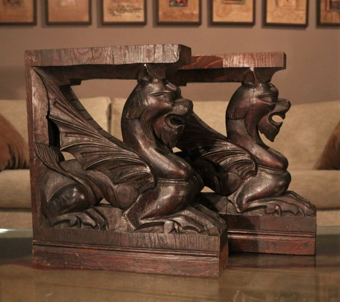 Two carved griffins from oak - France - circa 1900