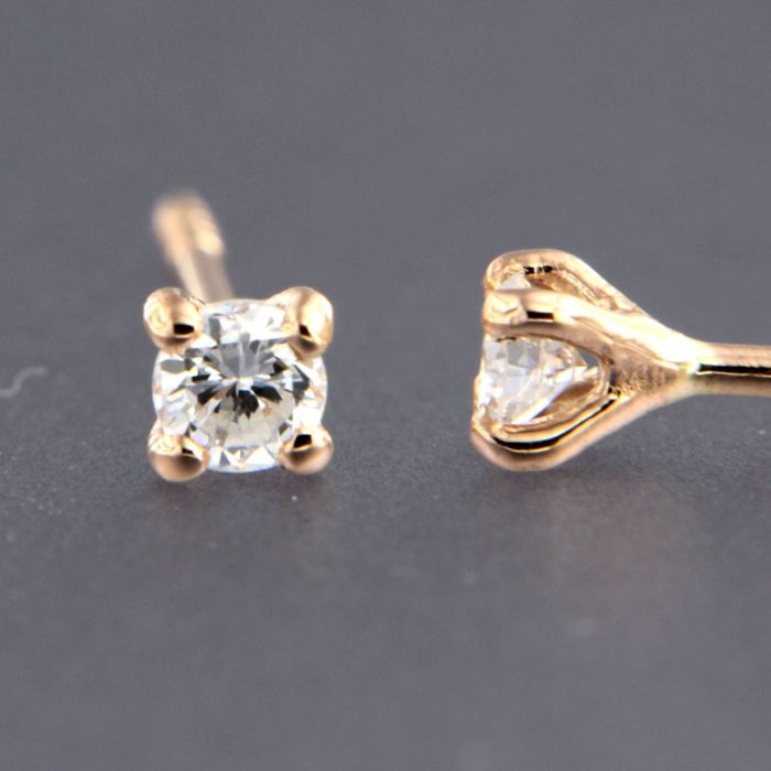 18 kt rose gold ear studs set with brilliant cut diamond - top 3.2 mm wide