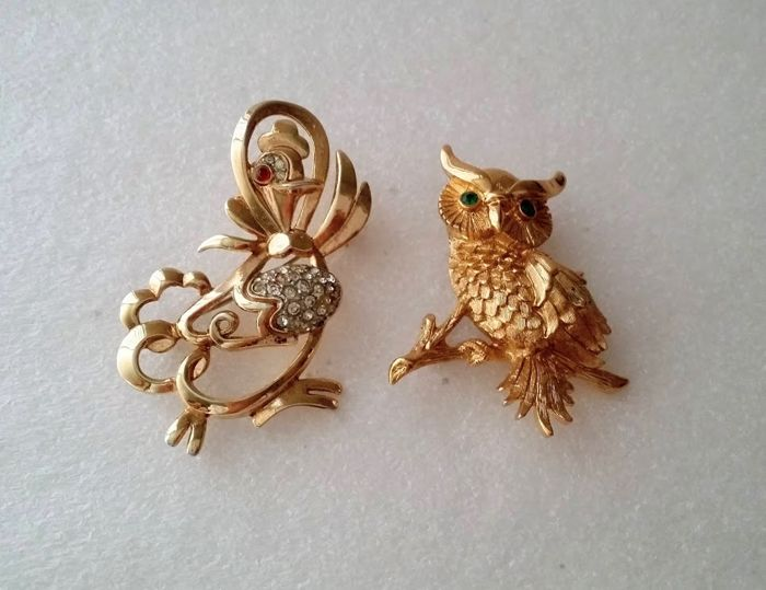 Crown Trifari Alfred Philippe & MONET Mother Goose & Owl Brooches