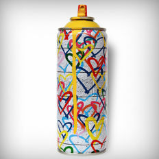 Mr Brainwash - Hearts Spray Yellow