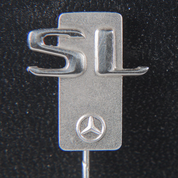 Badge - Polished Mercedes  Benz Daimler 925 Silver Pin SL  - Mercedes-Benz