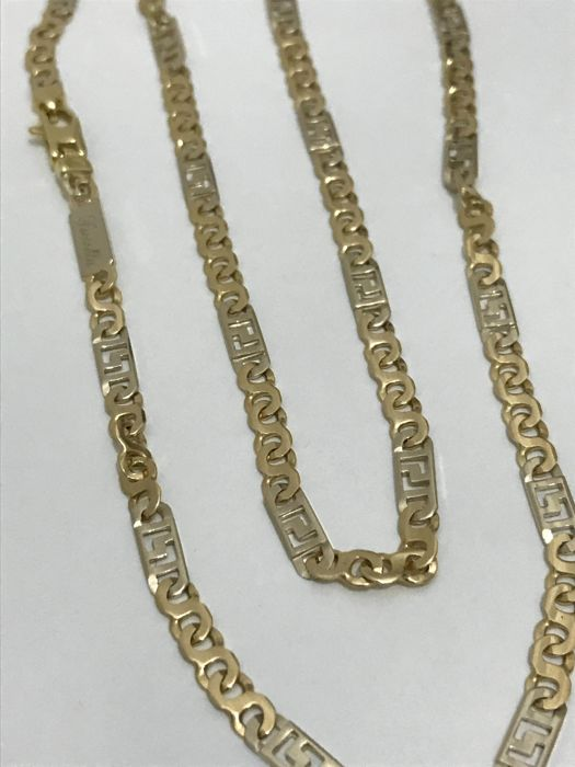 Two-tone 18 kt gold necklace, 22.8 g