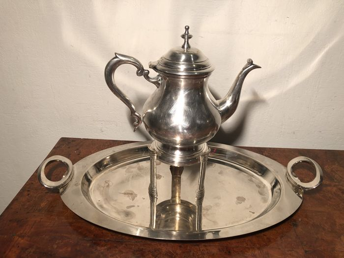 Silver plated teapot, tray & tea warmer.
