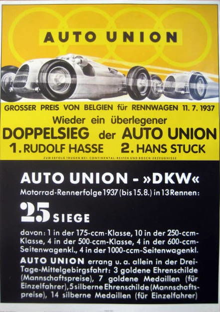 Decorative object - Auto Union - Doppelsieg Hasse/Stuck - GP. België - 1937 (1 items)