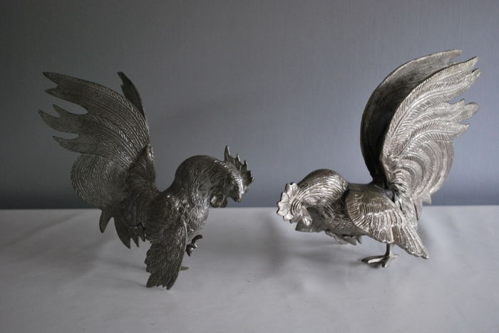 Two fighting cocks, - large silver plated table pieces