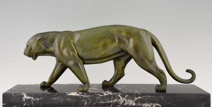 "Irenée Rochard - ""Walking panther"" - Art Deco sculpture on marble pedestal"