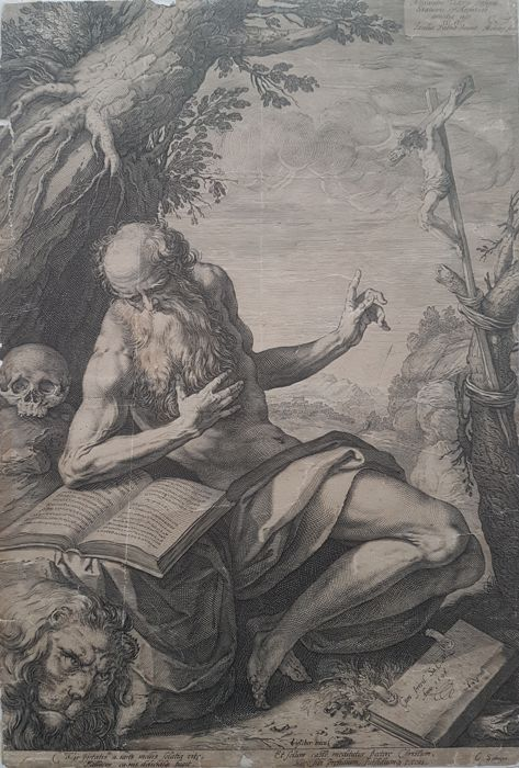 Hendrick Goltzius (1558-1617) - St Jerome in the wilderness