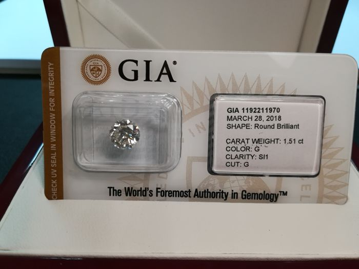 Natural diamond - 1.51 ct - G/SI1
