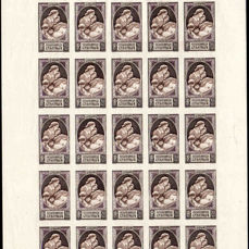 France 1939 - Leaves of 25 color essays all multicolored, Very Rare - Maury 440-1; 2 feuilles de 25
