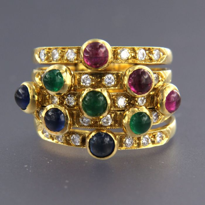 18 kt yellow gold ring set with emerald, ruby, sapphire and diamond - ring size: 16.5 (52)