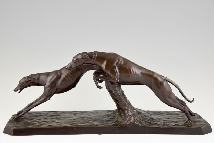 C. Charles - Art Deco bronze sculpture of two racing greyhounds - Patrouilleau Foundry