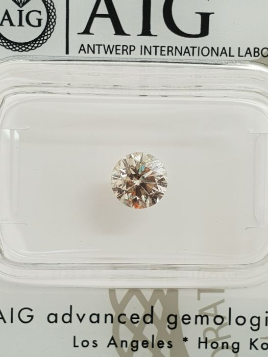 0.74ct. Round brilliant diamond FANCY GREY-SI2   AIG certified and sealed. -NO RESERVE-