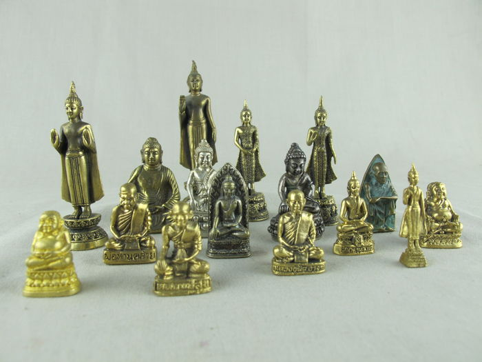16 miniature Buddhist statues - Thailand - late 20th century