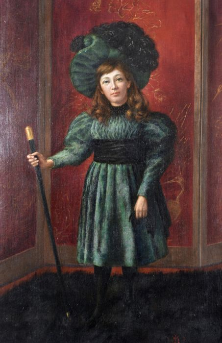 W.L.C. (19th century) - Young lady in a green hat with cane