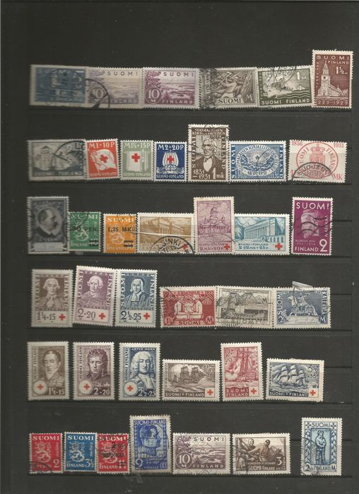 Finland 1875/1938 - Lot of 134 canceled stamps of 1875/1938 - Yvert 204