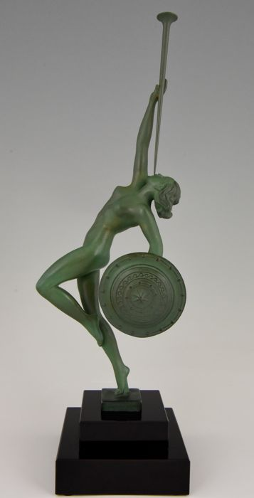 "Raymonde Guerbe - ""Jericho"" - Art Deco sculpture nude with trumpet and shield"