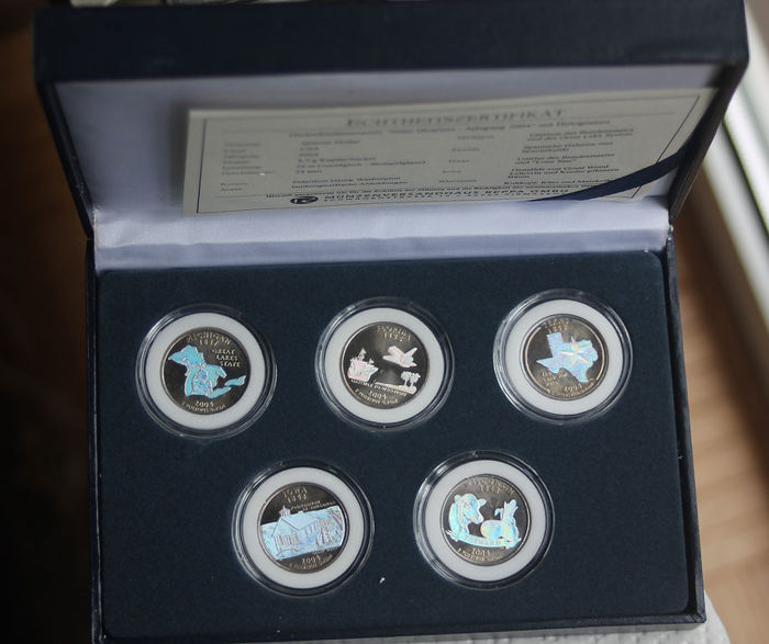 VS - 25 Cents 2004 'Statehood Quarters' with Hologram (5 pieces)